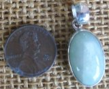 STERLING SILVER GREEN MOONSTONE PENDANT #23