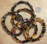 HAWK'S EYE/TIGER EYE DOG BONE STRETCHY BRACELETS #4