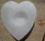 SATIN SPAR SELENITE HEART SPHERE HOLDERS #17