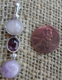 STERLING SILVER MORGANITE, PINK TOURMALINE, AND KUNZITE PENDANT #3