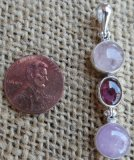 STERLING SILVER MORGANITE, PINK TOURMALINE, AND KUNZITE PENDANT #4