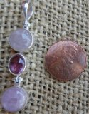 STERLING SILVER MORGANITE, PINK TOURMALINE, AND KUNZITE PENDANT #5