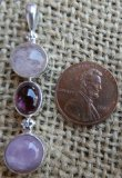 STERLING SILVER MORGANITE, PINK TOURMALINE, AND KUNZITE PENDANT #8