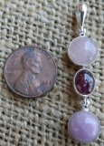 STERLING SILVER MORGANITE, PINK TOURMALINE, AND KUNZITE PENDANT #13