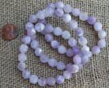 LAVENDER AMETHYST/CLEAR QUARTZ (FACETED) STRETCHY BRACELETS #4