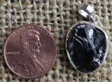 STERLING SILVER NOBLE SHUNGITE PENDANT #49