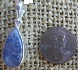 STERLING SILVER DUMORTIERITE IN QUARTZ PENDANT #6