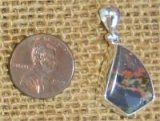 STERLING SILVER PUMPELLYITE/CHLORASTROLITE WITH NATIVE COPPER PENDANT #9