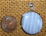 STERLING SILVER BLUE LACE AGATE PENDANT #22
