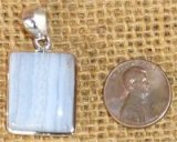 STERLING SILVER BLUE LACE AGATE PENDANT #23
