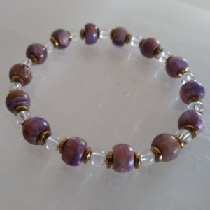 CHAROITE WITH TINAKSITE AND CLEAR QUARTZ STRETCHY BRACELET #2